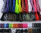 Made in USA 550 Type III Paracord Survival Bracelet Kit 250 Ft 25 colors With Buckles