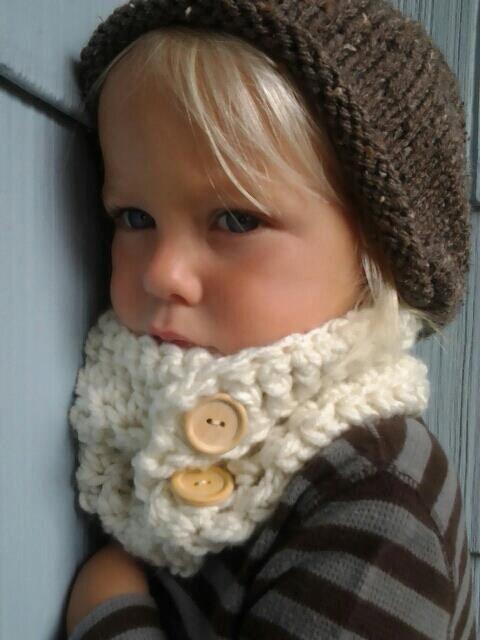 Crochet Cowl Kids Cowl Crocheted Neckwarmer by SweetKiddoCo