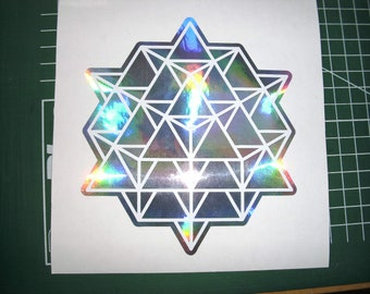 """64 sided Tetrahedron Grid, 5.2"""" decal"""