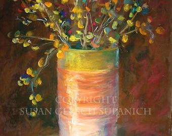 """Art Print  """"Chartreuse Berries"""" colorful art still life painting brown 11 x 14 print  -  Susan Gersch Supanich"""