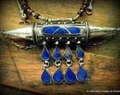 Bedouin Afghani Tribal Lapis,brass and wood beads/white metal necklace with a compartment
