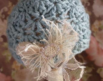 Crochet Newborn Baby Hat, Baby Girl Crochet Hat, Newborn Photo Prop Beanie, Baby Girl Flower Hat, Shabby Baby Beanie