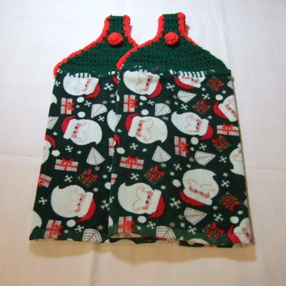 RESERVED LISTING: Green and Red Christmas Santa Hanging Kitchen Towels----set of 2