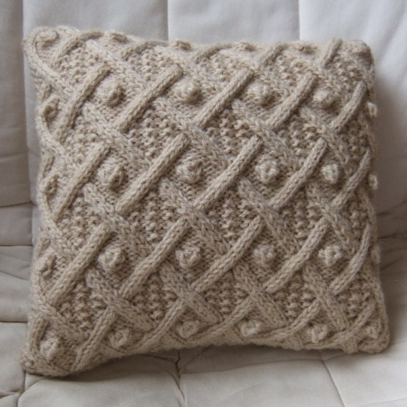 Knitting Pattern For Round Cushion Cover : Hand Knitted Beige Cable Pillow / Cushion Cover