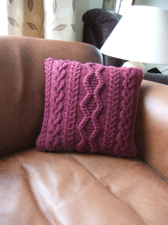 Hand Knitted Maroon Cable Cushion / Pillow Cover