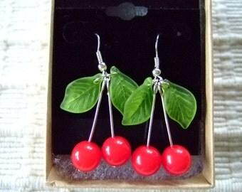 Traverse City Cherry Dangle Fashion Earrings