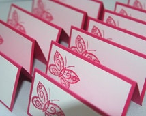 Pink Butterfly Place Cards Set of Twelve, Baptism Place Cards, Wedding Place Cards, Butterfly Food Tents