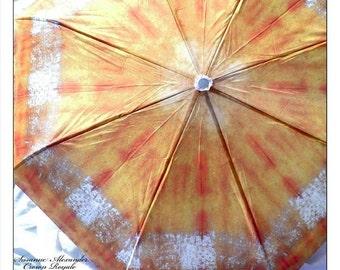 Umbrella Fashion Shibori Rain Travel Gold Silver Rust