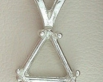 sterling silver 12mm trilliant  pendant mounting