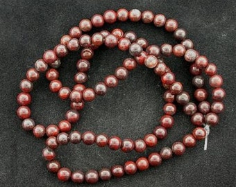 4mm round gemstone breciated jasper gem beads strand
