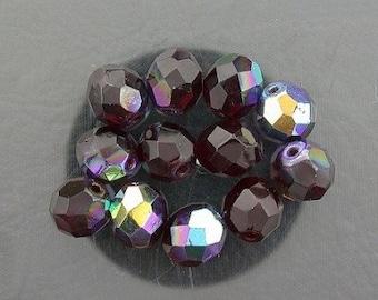 12  garnet  ab czech fire crystal beads 8mm