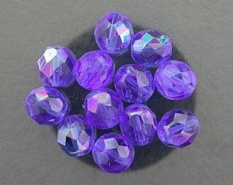 12 sapphire  ab czech fire crystal beads 8mm