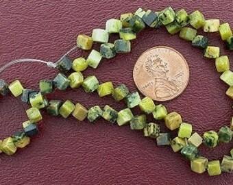 4mm dice gem gemstone yellow turquoise beads