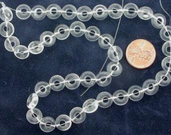 "40 10mm donut gemstone crystal quartz beads 15"" strand"