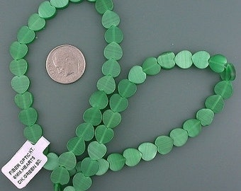 8mm shamrock green heart fiber optic beads