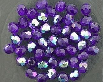 25 cobalt blue ab czech fire crystal beads 4mm