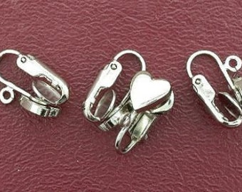 four 8mm silverplated heart clip on earrings with loop