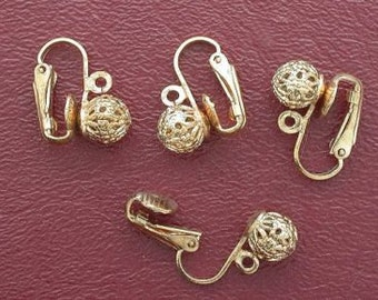 four 7mm round goldplated clip on earring with loop