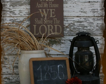 As For Me And My House We Shall Serve The Lord Christian Primitive Smokehouse Stenciled Sign Decor