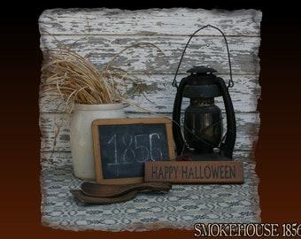 Happy Halloween Mini Halloween Fall Primitive Smokehouse Stenciled Sign Decor