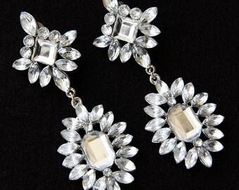 Bridal Earrings, Crystal Earrings, Drop Dangle Bridal Earrings, Bridal Stud Earrings, Vintage Style Earrings
