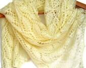 Cream Wedding scarf, knit lace shawl, wedding shawl, birthday gift wife, girlfriend unique gift, bridal shawl