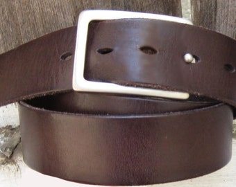 Dark Brown Italian Leather Belt Size Women's M