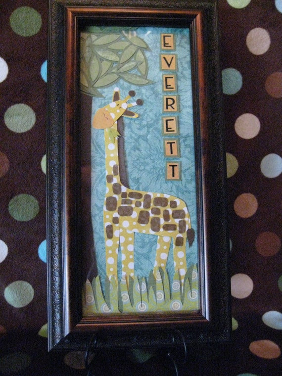 Giraffe eating leaves Baby or Child Personalized Name Frame