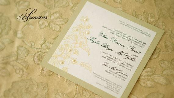 Ivory Wedding Invitation Kits: Sample Floral Ivory & Champaign Gold Wedding Invitation