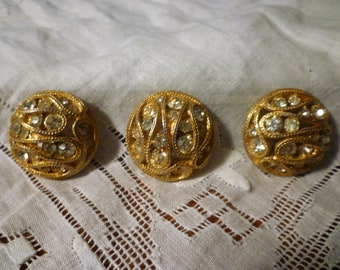 Vintage Rhinestones in Gold Base Buttons