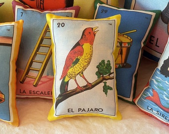 CLEARANCE: Pajaro (bird) Mexican Loteria Mini Pillow with Lavender - Dia De Los Muertos / Day of the Dead Party Favor, Mexican Style Decor