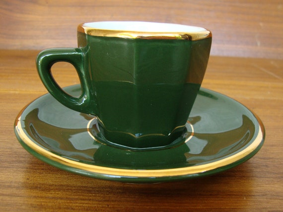 green and gold APILCO porcelain espresso cup and saucer FRANCE fine china