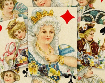 Playing Cards ATC ACEO cards Digital Collage Sheet for Scrapbooking Altered Art Victorian Style / AC67