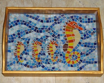 Mosaic tray 'Off to School'