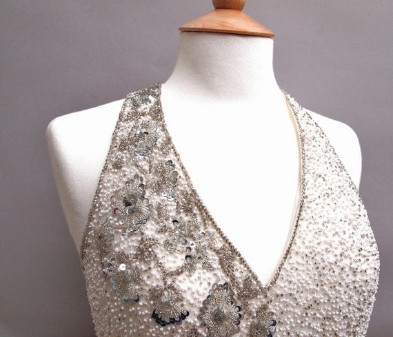 Vintage Wedding Dress White Halter Neck White Silk Silver Sequins Hand Beaded Long 1980s