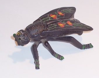 Cast Iron Black Fly Match Holder Ashtray from 1930s