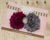 Grey and Burgandy Flower Clippie