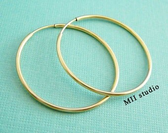 "2pcs 50mm 2""14k gold filled round endless hoop loop earring wire ear wire earwire E50g"
