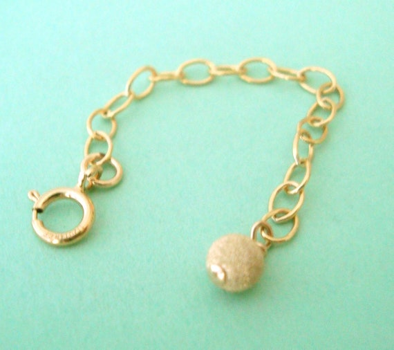 Gold filled extender chain with stardust bead spring ring clasp extend