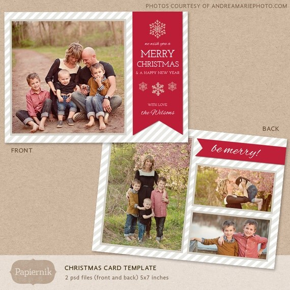 Digital photoshop christmas card template for photographers for Free christmas card templates for photographers