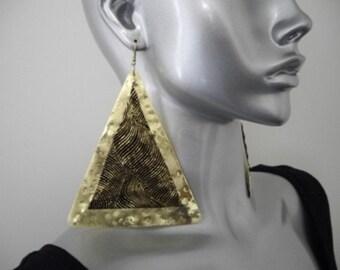 Leather - Brass Triange Earrings
