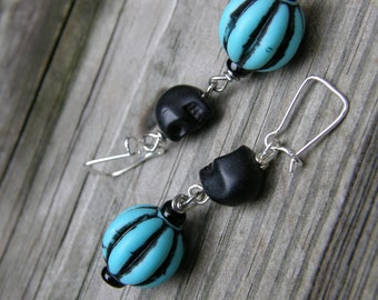 Small Black Skulls and Turquoise Bead Earrings for Gauged Ears