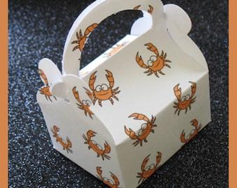 crab party favor box, crab birthday favor box , crab feast favor box