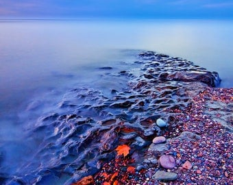 Lake Superior, Nature Photography, Blue Hour Photo, Great Lakes, Last Light, Serene, Blue Water Sky, Heavenly, Zen, Mystical, Home Decor