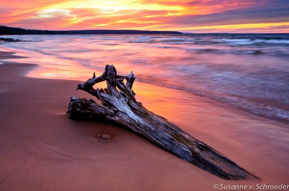Sunset at Lake Superior, Nature Photography, Metal Print, Meyer's Beach, Driftwood, Orange Pink Blue, Sky and Water, Home Bathroom Decor
