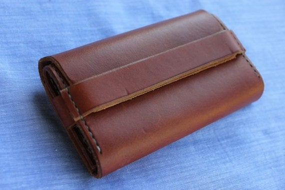 Handcrafted Tan tri folding Leather Wallet and iphone holder - ref ey700