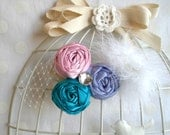 Three Roses Hair Clip with Feathers and Gems in teal, pink and lavender