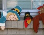 Set of 2, Pilgrim & Turkey Fence/Shelf Decoration