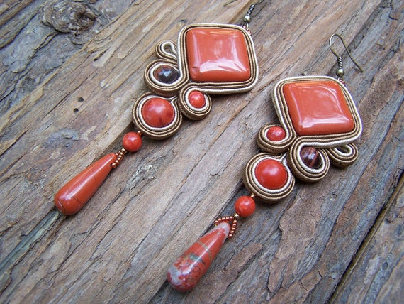 Reserved to Lisa! Soutache Jewelry. Red Jasper Earring. Autumn colors. Brick red, light and dark brown. OOAK.