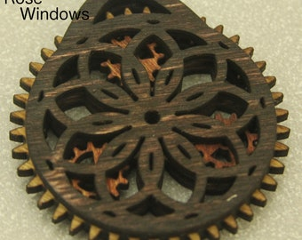 Rose Window Wooden Gear Christmas Ornament